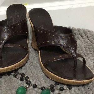 Michelle D cork wedge sandal